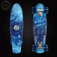 Wholesale 22 inch Mini Cruiser Plastic Skateboard Retro Longboard Blue starry sky Skateboarding small fish shaped Penny style board for Boys Girls