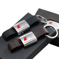 audi rings black - Genuine Leather Car Keychain Key Chains Rings Fob Fits for Audi Car Sline RS Logo Keyring A3 A4 A5 A6 A8