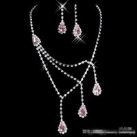 ball pink stone - Shinning Rhinestone Pink Lady Necklace Earring Sets Bridal Accessories Jewelry for Wedding Party Evening Prom In Stock Cheap B
