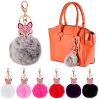 ball handbag - Fashion Cartoon Soft Rabbit Fur Charm Ball Pom Pom KeyChains Ring For Cell Phones Handbags Cars Remote EA304