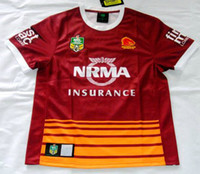 heat transfers - NRL National Rugby League Brisbane red new jersey High temperature heat transfer printing jersey Rugby Shirts stitch