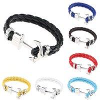 anchor bangle - Multilayer Leather Handmade Cuff Wristband Anchor Bracelet Bangles For Women Men