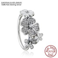 Wholesale 2016 New spring Collection Shimmering Bouquet ring with Enamel sterling silver jewelry rings for women anillos Fine Jewelry