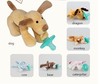 Wholesale Lovely months Baby Cartoon Cute Infant Baby Safe Durable Silicone Pacifiers with Plush Animal Non ToxicTool Safe Baby Nipples Teat