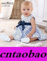 Wholesale Classic New Baby Gilr Blue Plaid Dresses with Bow Summer Sleeveless Vest Dresses suit for T