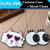 big cat shoulder - Cute D Silicone Cartoon Big Eyes Cat Case for iphone s plus s se Soft Rubber Gel Cover with Shoulder Diagonal Metal Chain