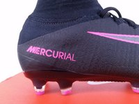 Wholesale new Mercurial Superfly V AG PRO Laser Black White Boots Soccer cr7 shoes Ceats Mens Football Boots indoor shoes Cleats size