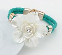 big pearl bracelet - Trendy Fashion Pearl Rose Big Flower Charm Bracelets Bangles For Women Fine Jewelry Pulseras Mujer