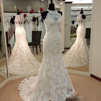 Wholesale 2016 Vintage Full Lace Mermaid Wedding Dresses High Neck Sweep Train Custom Made Garden Western Country Bridal Wedding Gowns Cheap Plus Size