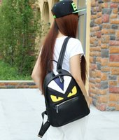 big bag pack - The New Trend of PU Backpacks Big Eyes Small Monster Shoulder bag Schoolbag Female Male Chest Pack