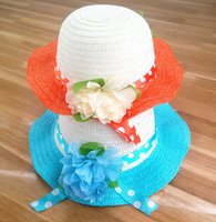 beautiful baby sun hats - 2016 new girls summer hat baby fashion beach hat beautiful flowers children s sunscreen sun hat hand woven hats D2