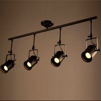 Wholesale Retro Loft Vintage LED Track Light Industrial Ceiling Lamp Bar Clothing Personality spotlight Light Four Heads