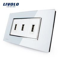 Wholesale Livolo US Standard USB Socket A V White Black Crystal Glass Wall Powerpoints With Plug VL C393USB