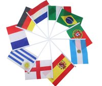 Wholesale Brazil Olympic Games different Countries Hand Waving Flags Mini Banner Hand Flags Cheer Flags CM