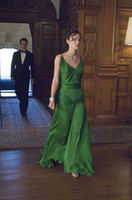 atonement dress - 2016 Atonement Emerald Green Celebrity Dresses Keira Knightley Ruffle Chiffon Spaghetti Strap Sexy Backless Modest Formal Evening Gowns