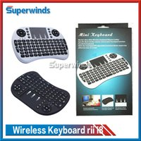 Wholesale 10X Wireless Keyboard rii i8 keyboards Fly Air Mouse Multi Media Remote Control Touchpad Handheld for TV BOX Android Mini PC Free Ship