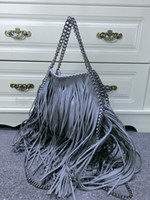 Wholesale Women s Falabella Grey Faux Suede Small Size Fringe Shoulder Bags Size x x cm