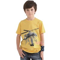 Wholesale New Boy s tee shirt Yellow Color Cotton T Shirt Airplane Print G Size