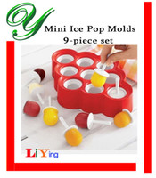 Cheap 9pc set mini ice popsicle mold maker silicone fruit ice lolly stick ice cube ball tray BPA free chocolate icecream mould kids party supplies