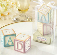 baby block decoration - Ceramic Baby Blocks Cruet quot New Baby On The Block quot Letter Abcd Salt Pepper Shaker Wedding Favors Party Decoration set