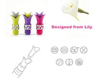 Wholesale 1 Piece Gift Box Unique Lily Silicone Wine Bottle Stopper Pourer Glass Wine Pourer Drop Stop Liquid Pourer Stopper