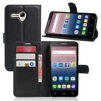 alcatel mobiles phones - Lichi PU Leather Wallet Case for Alcatel POP3 inch OT5025 Screen Protective Stand with Card Slot Mobile Phone Cover for Alcatel Colorful
