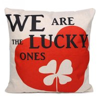 Wholesale We Are The Lucky Ones Pattern Linen Throw Pillowcase Cushion Cover Home Sofa Car Decor