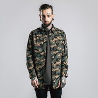 Cheap 2016 Autumn Winter Camouflage Shirts Long Sleeve Men Shirt Hiphop Droptail MA1 Camo Shirts With Zipper in Sleeve 058W16