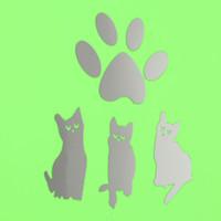 Acheter Stickers muraux empreinte-Le meilleur prix Sticker Décor bricolage Argent Mirror CatsFootprint Chambre Wall Art Mural Acrylique Decal excellente qualité