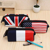 big bags uk - American flag children pencil case styles kids canvas pencil bags uk flag big zipper large capacity student stationary storage
