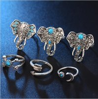 Wholesale The elephant suit ring of foreign trade The moon arrow six woolly turquoise ring The European and American wind speed sell hot style