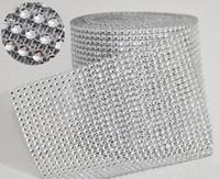 "Wholesale Crystal Mesh Rolls - 10yard roll 4.75"" 24 Rows manmade Diamond Mesh yards wrap Rhinestone Ribbon Crystal trim Wrap sparkle bling ribbon Wedding Decoration WT029"