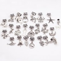 Wholesale 23Pcs Metal Zinc Alloy Animal Charm Beads For Pandora Bracelet Vintage Silver Diy Big Hole Beads For Pandora Charms B8513