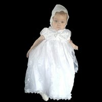 Wholesale In Stock White Beige Baby Girls Christening Dresses Satin Beaded Newborn Christening dresses Children Bow Princess Clothing Party MC0305