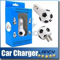 Wholesale High Quality V A World Cup Soccer Football Car Charger Adapter for iPhone C S Samsung Galaxy S4 S5 Note etc