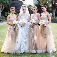 Cheap 2016 Lace Appliques Bridesmaid Dresses Sweetheart Sleeveless Floor Length Tulle Skirt Party Fashion Classic Prom Dresses