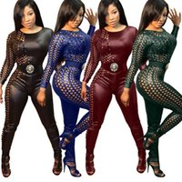 Wholesale New Plus Size Women Sexy Catwoman Costume Colors Faux Leather Catsuit One Side Hole Design O Neck Long Jumpsuit WT18288