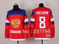 best federations - 2014 Team Russia Alex Ovechkin Jersey Sochi Winter Russian Federation Ice Hockey Jersey Best Quality Men s