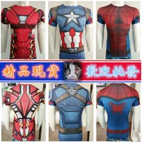 Wholesale Hot Sale New Men Sport Fitness Compression T Shirt Super Hero Captain American Iron Man Short Sleeve Quick dry Gym Clothing