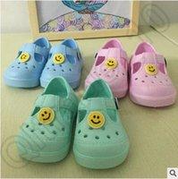 Wholesale 100pair LJJC4079 High Quality Colors Baby Cartoon Smile Face Clogs Sandals Shoes Beach Shoes Unisex Summer Sandals Casual Kids Sandals