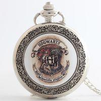 Wholesale New Hogwarts School Badge Harry Potter Deathly Hallows Pocket Watch necklaces Bronze locket Fob quartz Watches men women child gift