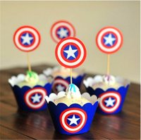 america party decorations - 24pcs The Avengers Captain America Party Paper Cupcake Wrappers Toppers for Kids Birthday Party Decoration Cake Cups