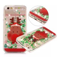 apple iphone sock - iPhone plus case Christmas gift Tree Santa Elk Christmas socks Flowing Liquid Case Quicksand Star PC Cover for iphone s plus SE Polybag