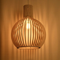 Wholesale The new original wooden geometric droplight Chinese style lamps and lanterns of personality of creative real wood cage restaurant droplight