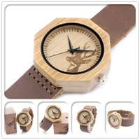 bamboo band - New Designer Men Watch Elk Head Real Bamboo Wooden Wristwatch With Genuine Cowhide Leather Band Wood Watches for Men