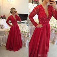 apple christmas sales - Hot Sale Custom Made Deep V neck Long Evening Dress Beaded A line Long Sleeve Red Lace Prom Gown Christmas Party Gown