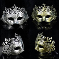 Wholesale Hot Men Retro Crown Design Masquerade Masks Gold Silver Halloween Party Carnival Half Face Masks Graduation Halloween Celebrations Show Mask