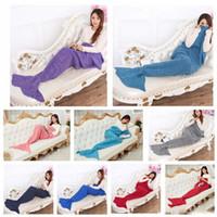 Wholesale new Adult Mermaid Tail Blankets Mermaid Sleeping Bag Hand Crocheted Blankets Sofa Knit Cocoon Mermaid Warm Blanket cm
