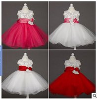 Wholesale High Quality Elegant YIYI Flower Girl Dresses Sequined Bow Long Princess Party Pageant first communion dresses