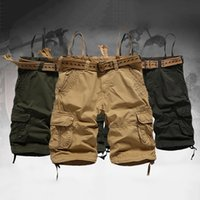 belted cargo shorts - Men Casual Shorts Wide Leg Cargo Pants Multi Pocket Army Combat Straight Short Pants No Belt WD0082 salebags